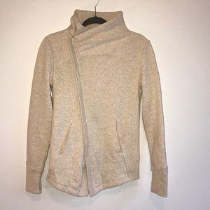 ZELLA-Cream cowl neck zip-up sweatshirt SZ: SMALL